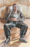 Pastel drawing of sitting relaxed young man abstract contemporary Royalty Free Stock Photos