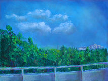 Pastel Drawing Of A View From A Balcony Stock Image