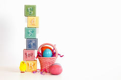 Pastel  EASTER blocks on a white background Royalty Free Stock Image