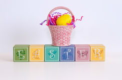 Pastel EASTER blocks on a white background Royalty Free Stock Photos
