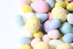 Pastel Easter Candy with Chocolate inside. stock images