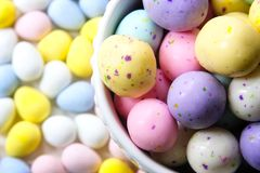 Pastel Easter Candy with Chocolate inside. stock photo