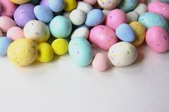 Pastel Easter Candy with Chocolate inside. royalty free stock photography