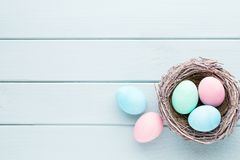 Pastel Easter eggs background. Spring greating card. Pastel Easter eggs background. Spring greating card Stock Photography