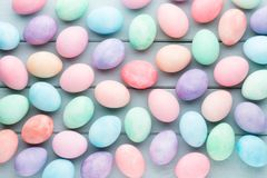 Pastel Easter eggs background. Spring greating card. Pastel Easter eggs background. Spring greating card Royalty Free Stock Photos