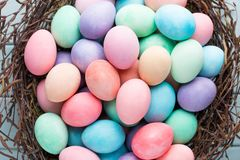 Pastel Easter eggs background. Spring greating card.  stock photos