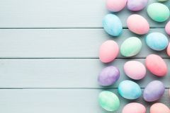 Pastel Easter eggs background. Spring greating card. Pastel Easter eggs background. Spring greating card Stock Images