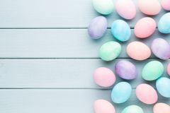 Pastel Easter eggs background. Spring greating card. Royalty Free Stock Photos