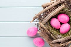 Pastel Easter eggs background. Spring greating card. Pastel Easter eggs background. Spring greating card Royalty Free Stock Images