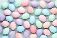Pastel Easter eggs background. Spring greating card. Pastel Easter eggs background. Spring greating card Royalty Free Stock Photography
