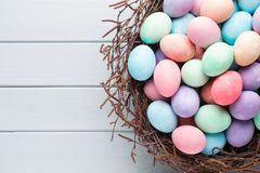 Pastel Easter eggs background. Spring greating card. Pastel Easter eggs background. Spring greating card Stock Image