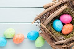 Pastel Easter eggs background. Spring greating card. Pastel Easter eggs background. Spring greating card Stock Photos