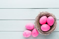 Pastel Easter eggs background. Spring greating card.  Royalty Free Stock Photo
