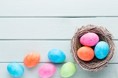 Pastel Easter eggs background. Spring greating card.  Royalty Free Stock Image