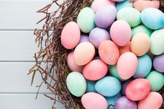 Pastel Easter eggs background. Spring greating card. Pastel Easter eggs background. Spring greating card Royalty Free Stock Photo