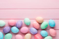 Pastel Easter eggs background. Spring greating card. Pink pastel Easter eggs background. Spring greating card Stock Photos
