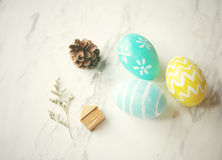 Pastel easter eggs with cute decorated Stock Image