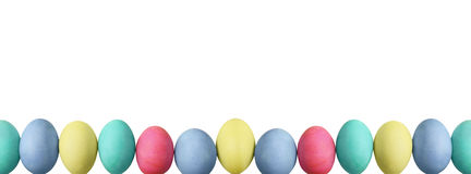Pastel Easter Eggs Over White Background Royalty Free Stock Photos