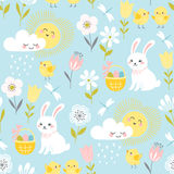 Pastel Easter pattern. Cute Easter pattern with bunnies, chicks, clouds, sun and flowers in pastel colors vector illustration