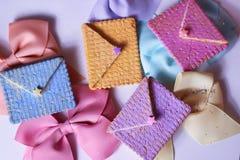 pastel estacional de la cinta del mensaje de la panadería del correo de la tarjeta de felicitación Imagen de archivo