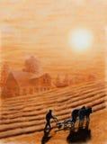 Pastel farmer plowing Stock Photos