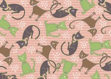Pastel feline cats pattern. Illustration royalty free illustration