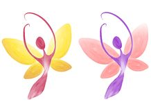 Pastel Female Fairy Figures. A clip art illustration of a pair of female figures as fairies, your choice of pink and purple, or wine and gold - isolated on white Stock Photography