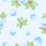 Pastel festive seamless vector pattern. Pastel seamless vector pattern with snow balls and holly Royalty Free Stock Photography
