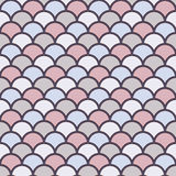 Pastel fish scale wallpaper. Asian traditional ornament with repeated scallops. Seamless pattern with vivid semicircles. Stock Photos