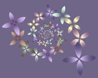 Pastel Floral Spiral. Abstract swirl of pastel colored flowers Stock Photos