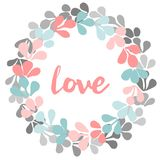 Pastel floral wreath with love valentines vector card Stock Photos