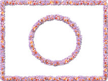 Pastel flower borders. Two borders, one rectangular, one round, made up from colorful pastel flowers Stock Photo