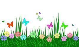 Pastel Flower Garden, Grass, and Butterflies Stock Image