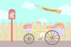 Pastel flowers in bicycle basket and post box at street in summe Royalty Free Stock Photo