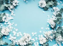 Pastel flowers blooming frame on blue background. Top view royalty free stock photography