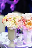 Pastel flowers bouquet in vase Stock Photos