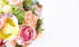 Pastel flowers bunch isolated on white background. Copy space. S Stock Image
