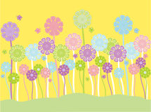 Pastel flowers and butterflies stock illustration