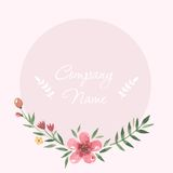 Pastel flowers frame around watercolor hand drawn Royalty Free Stock Image