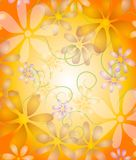Pastel Flowers on Vine Gold. A digital art flower vine design texture with white and pastel colored petals on a gold gradient yellow background Royalty Free Stock Image