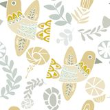 Pastel folkloric birds and flowers pattern vector illustration