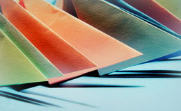 Origami forms. In brighr, pastel colors royalty free stock image
