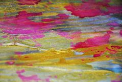 Pastel gold pink muddy watercolor waxy gold spots colorful hues, strokes of brush, backgrounnd. Pastel gold pink sparkling muddy rainbow vivid strokes of brush royalty free illustration