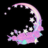 Pastel goth crescent with stars and roses greeting card Stock Images
