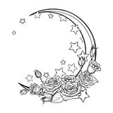 Pastel goth crescent with stars and roses greeting card Stock Photos