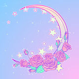 Pastel goth crescent with stars and roses greeting card Royalty Free Stock Photography