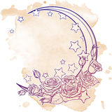 Pastel goth crescent with stars and roses greeting card Stock Photography