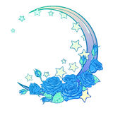 Pastel goth crescent with stars and roses greeting card. Kawaii Night sky composition with Roses, stars and moon crescent. Festive background or greeting card Royalty Free Stock Images