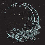 Pastel goth crescent with stars and roses greeting card. Kawaii Night sky composition with Roses, stars and moon crescent. Festive background or greeting card Stock Photos