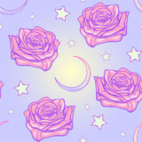 Pastel goth moon and roses seamless pattern. Kawaii Roses stars and moon crescent. Festive seamless pattern. Pastel goth palette. Cute girly gothic style art Royalty Free Stock Photo